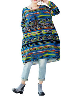 Loose Colorful Printed Stripe O-Neck Long Sleeve Knee-Length Dress