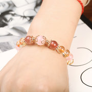 Natural Crystal Bracelet for Women Topaz Rose Quartz Amethyst Strawberry Quartz
