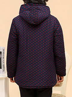 Printed Long Sleeve Button Hooded Thicken Coat For Women