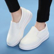 Pu Pure Color Plaid Check Slip On Korean Style Outdoor Flat Loafers