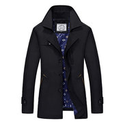 Casual Business Multi Pockets Solid Color Thin Single Breasted Jacket for Men