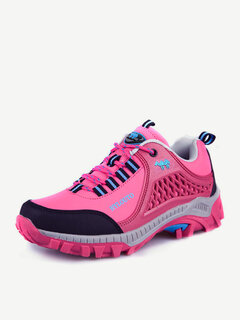 Men Women Lover Color Match Anti Skip Toe Protecting Lace Up Outdoor Hiking Shoes