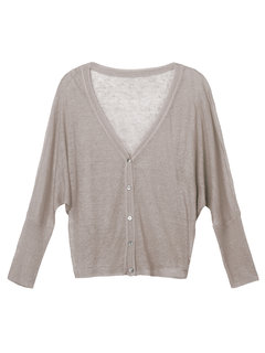 Solid Button V-Neck Long Sleeve High Low Thin Cardigan For Women