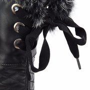 Leather Lace Flat Over The Knee Boots