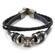 Unisex Multilayer PU Leather Cross Wristband Bracelet