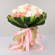 Bride Pink Rose Holding Flowers Green Leaves Wedding Bouquet Decor