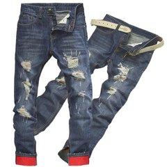 Men's Demin Break Holes Straight Waterstreak Jeans Middle-waisted Trousers