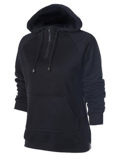 Women Casual Hooded Zipper Pure Color Hoodie