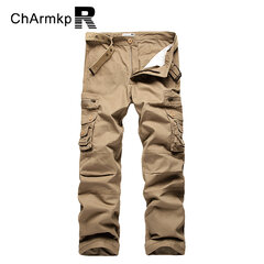 Charmkpr Multi Pockets Casual Cargo Pants Regular Fit Solid Color Long Trousers For Men