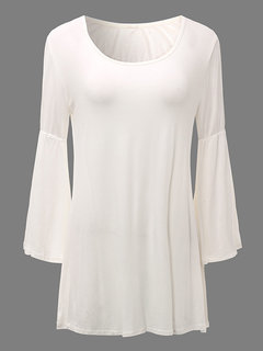 Casual Pure Color O-Neck Trumpet Sleeves Tops For Women