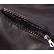 Thick Fleece Motorcycle PU Leather Double Chest Pockets Buckle Stand Collar Jacket For Men