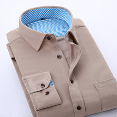 8 Colors Casual Business Corduroy Slim Solid Color Long Sleeve Dress Shirts for Men