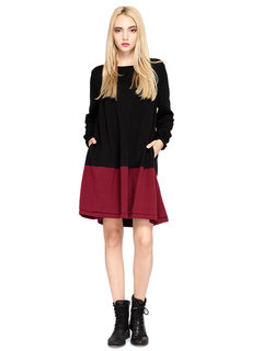 Casual Color Contrast Patchwork Pocket Knit Mini Dress For Women