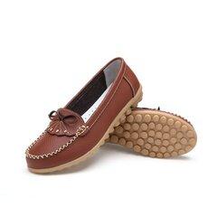 Мода Кожа Бабочка Узел Плоские Повседневная обувь