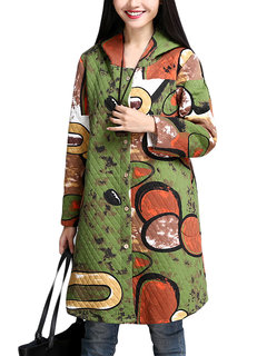 Vintage Women Long Trench Printed Hooded Cotton Coat