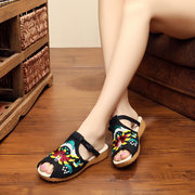 Peep Toe Hollow Out Embroidery Chineseknot Flat Sandals Slippers