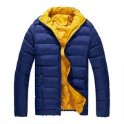 Winter Cotton Padded Light Warm Coat Color Splicing Hooded Jacket for Men