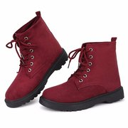 Fur Warm Ankle Lace Up Flat Pure Color Casual Boots