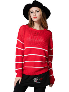 Fashion Loose Women Stripe Hollow Patchwork Knitted Pullover Sweater