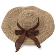 Women Sun Hat Shading Bowknot Big Straw Hat Large Wide Brim Folding Beach Hat