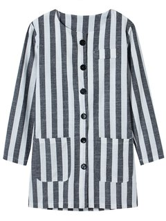 Vertical Striped Single Breasted Vintage Casual Women Jacket