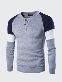 Men's Casual Contrast Color Patchwork British Style O-neck Button Long-sleeved T-shirt