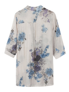 Folk Style Women Button Three Quarter Sleeve Floral Printed Blouse