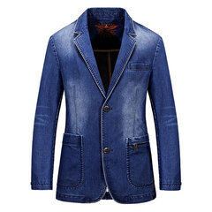 Fashion Mens Denim Suits Turndown Collar Two Buttons Pockets Casual Fall Winter Jackets