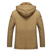 Winter Outdoor Casual Thicken Warm Multi Pockets Slim Hooded Jacket for Men