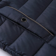Mens Casual Outdoor Zipper Stand Collar Solid Color Thicken Padded Jacket