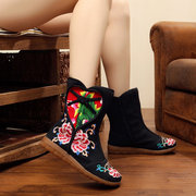 Chineseknot Heart Shaped Zipper Embroidery Mid Calf Vintage Floral Print Boots