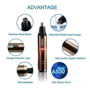 KEMEI KM-6619 110-220V Stainless Rechargeable Nose & Ear Hair Removal Trimmer Mute Handy