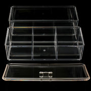 2 Tiers 4 Compartments Clear Acrylic Make Up Organiser Cosmetic Display Storage Jewellery Case