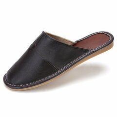 Men Home Indoor Casual Slip On Pu Pure Color Flat Slippers