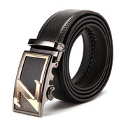 120CM Mens Business Layer Leather Stainless Steel Auto Buckle Belts Pants Strip