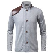 Men's Spring Fall PU Leather Stitching Stand Collar Long-sleeved Jacket