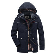 Winter Outdoor Cotton Thicken Multi Pockets Detachable Hood Jacket for Men