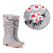 Big Size Embroidery Floral Print Sweet Mid Calf Square Heel Retro Boots