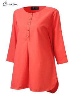 O-Newe Casual Loose Women Button Nine Points Sleeve O Neck Mid-Length Blouse