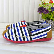 Stripe Color Match Flat Slip On Canvas Casual Shoes