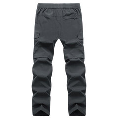 Plus Size Mens Outdoor Quick-drying Multi-pocket Elastic Waist Loose Straight Pants