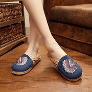 Вышивка Pattern Ветер Национальный Урожай поскользнуться на плоские сандалии