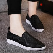 Leather Shiny Hollow Out Breathabel Korean Style Slip On Flat Loafers