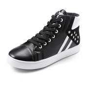 Men Casual Star Stripe Color Match High Top Lace Up Flat Sport Shoes