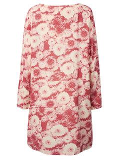 Floral Printed 3/4 Sleeve Straight Vintage Women Dress