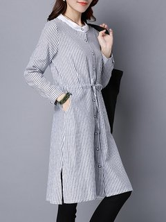 Elegant Women Stripe Long Sleeve Buttons Shirt Dress