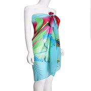 Butterfly Pattern Printed Chiffon Belt Dress Beach Towels