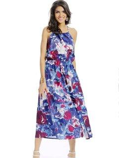 Женщины Повседневная Цветочный печати Холтер щелевая Backless рукавов Maxi платье