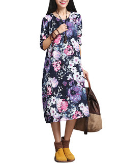 Ethnic Loose Printed Round Neck Long Sleeve A-Line Dress For Women