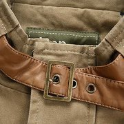 Casual Outdoor Military Style Solid Color Multi Pockets Jacket with Collar Belt for Men